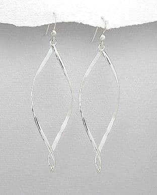 925 Sterling Hand Crafted long Twist Drop Earrings